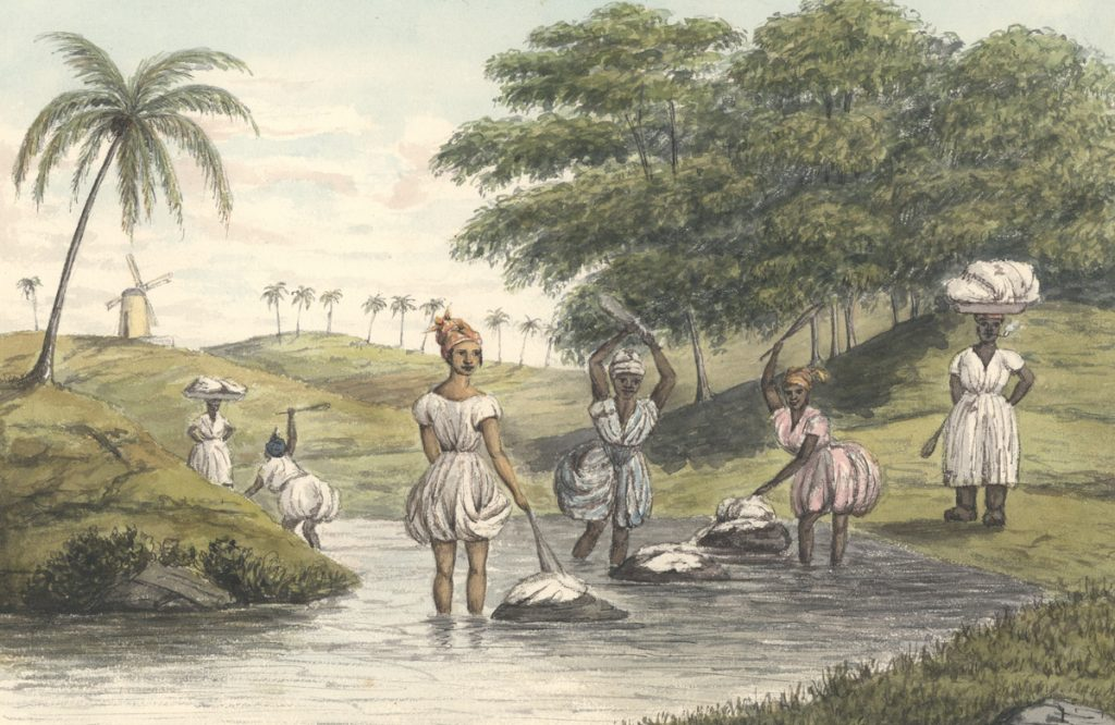 Clothes washing in the stream, St. Croix ca. 1844.