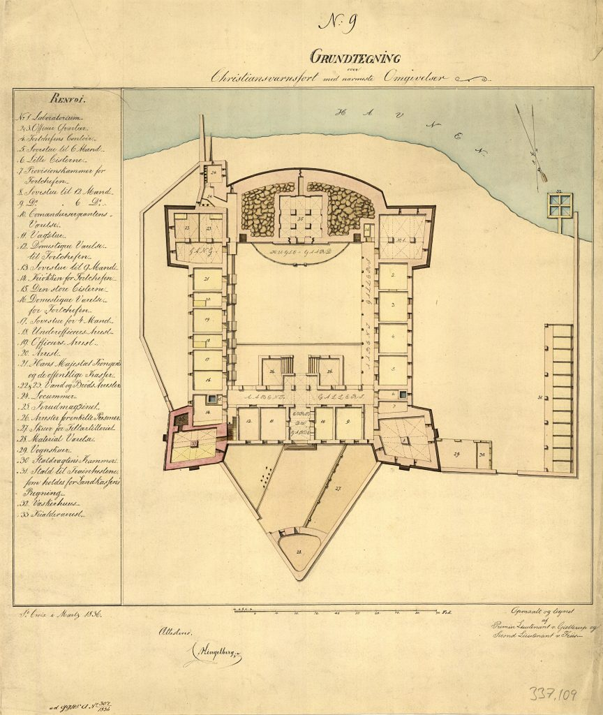 Floor plan of Fort Christiansværn in Christiansted on St. Croix, 1839.