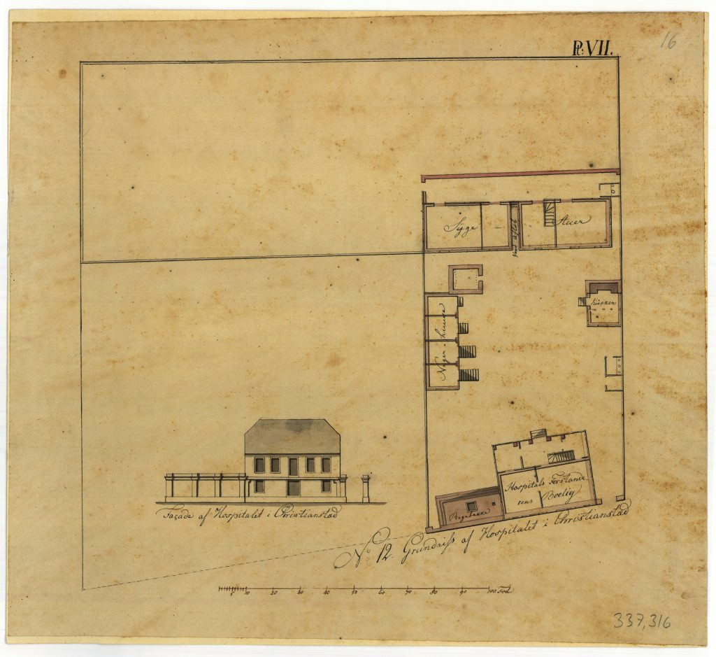 The drawing shows the hospital in Christiansted, St. Croix.