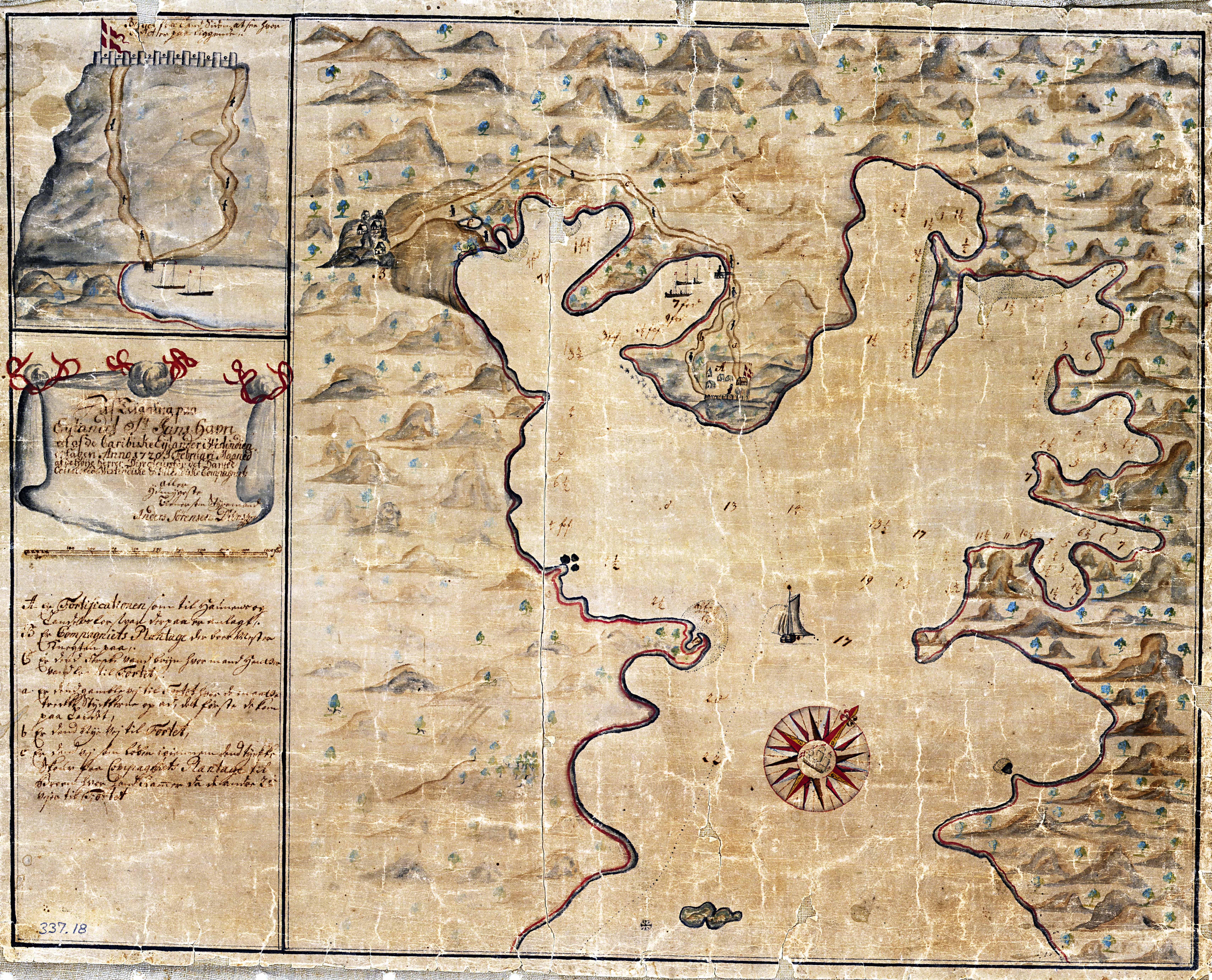 Kort over Coral Bay på St. Jan