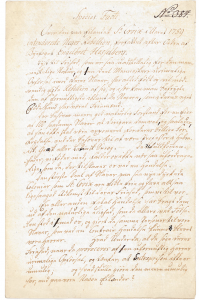First page of Sheriff Engelbret Hesselberg's report on the planned rebellion on St. Croix in 1759.
