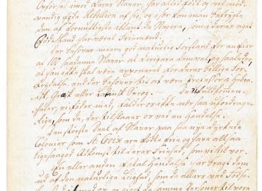 Første side af byfoged Engelbret Hesselbergs beretning om det planlagte oprør på St. Croix i 1759.