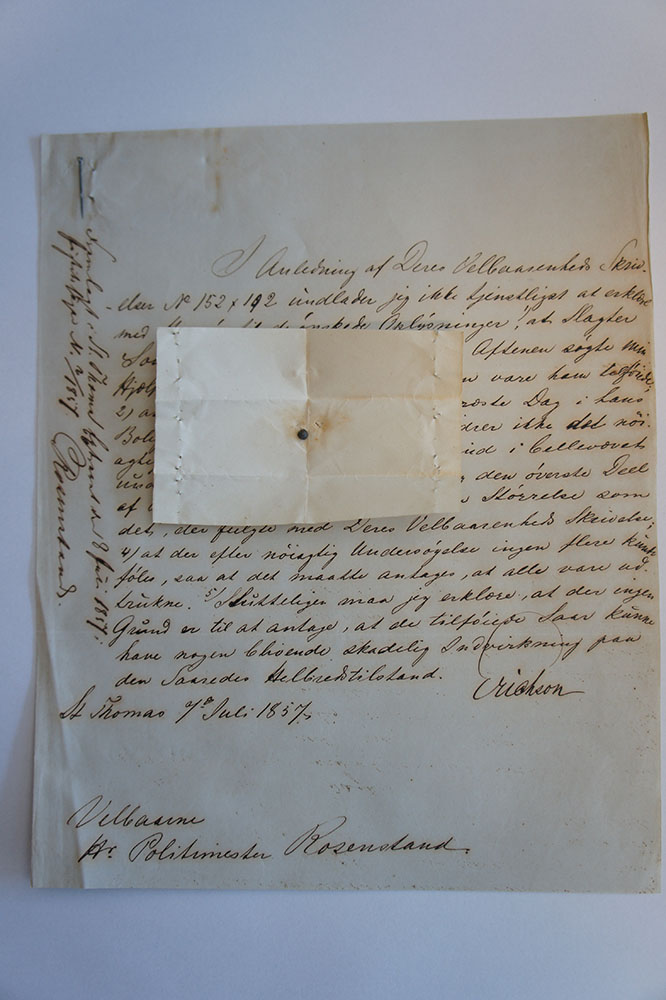 Photo of Erickson's letter with the enclosed pellet.