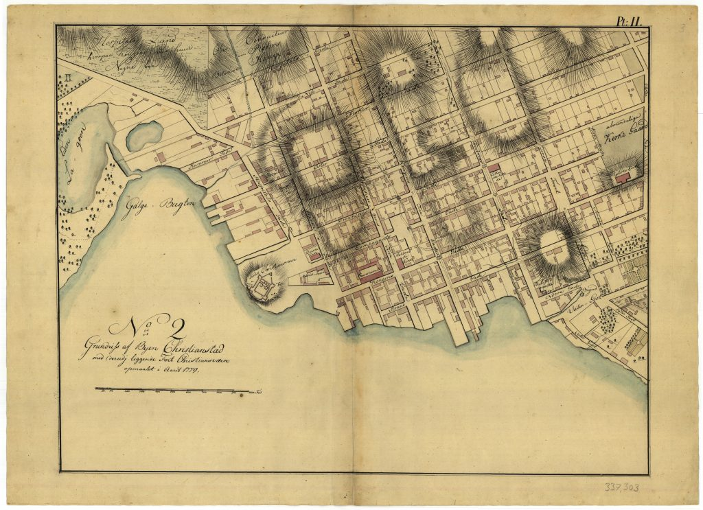 Map of Christiansted on St. Croix by Peter Lotharius Oxholm.