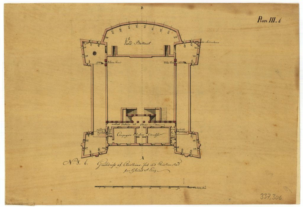 The drawing shows the fort's main floor, where the commander had his rooms in the main wing.
