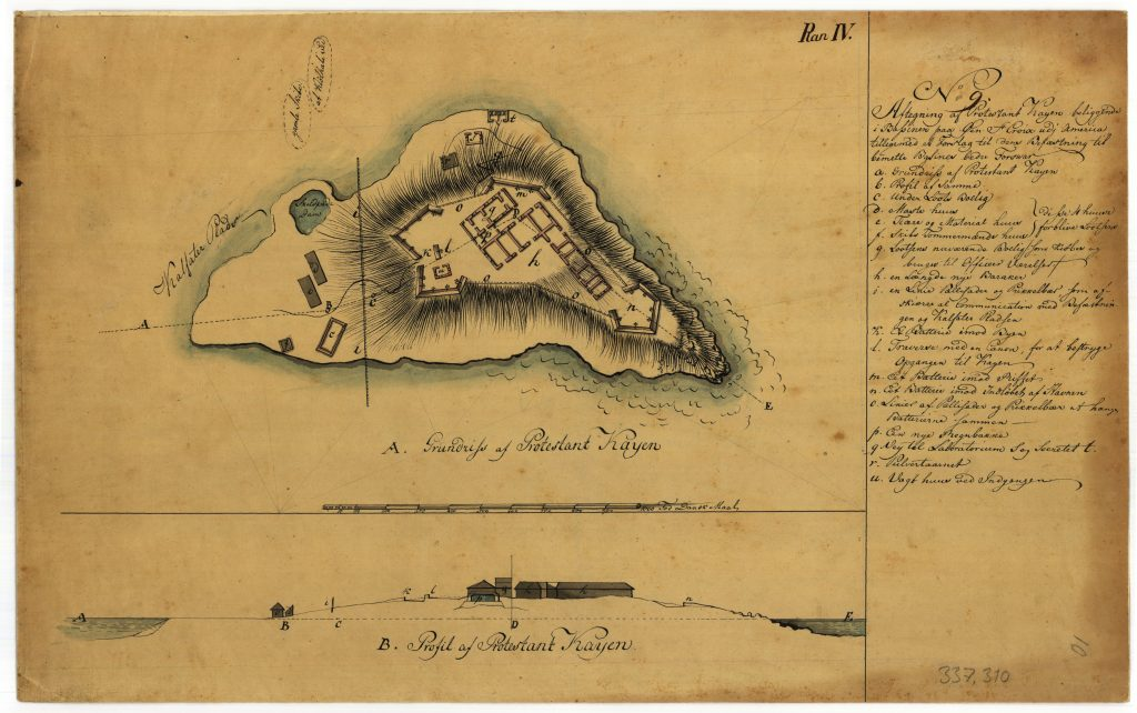Oxholm's plan for construction of entrenchments on Protestantkajen (Protestant Cay), the small islet in Christiansted harbor.
