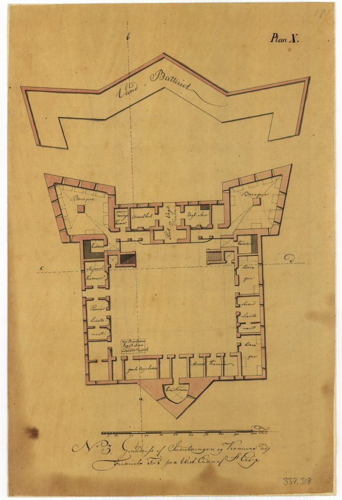 Ground plan of the ground floor in the fort with coastal battery in front.