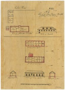 The military hospital in Frederiksted, c. 1778, drawn by Peter Lotharius Oxholm.