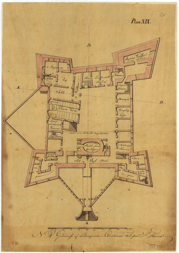The drawing shows the layout of the ground floor in Christiansfort.