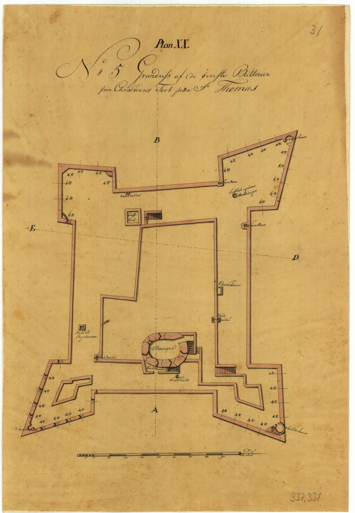 The drawing shows the uppermost batteries at Christiansfort itself.
