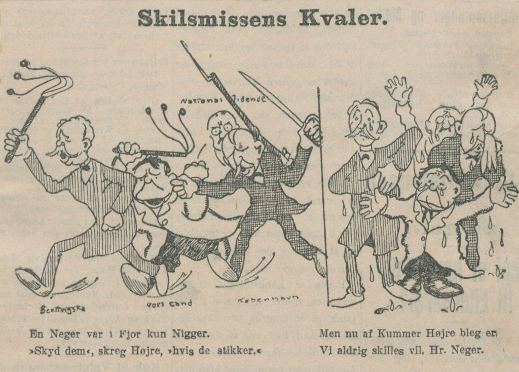 Caricature of The right of centre press change their opinion about the sale of the islands.