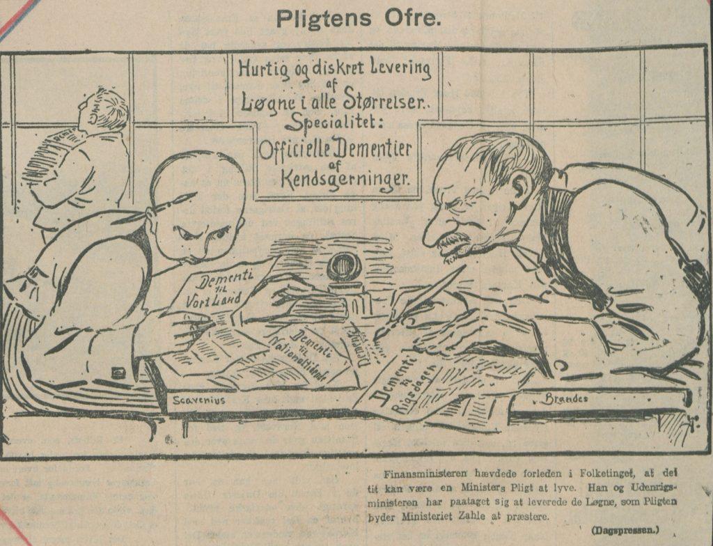 Karikatur af Udenrigsminister Erik Scavenius og finansminister Edvard Brandes.