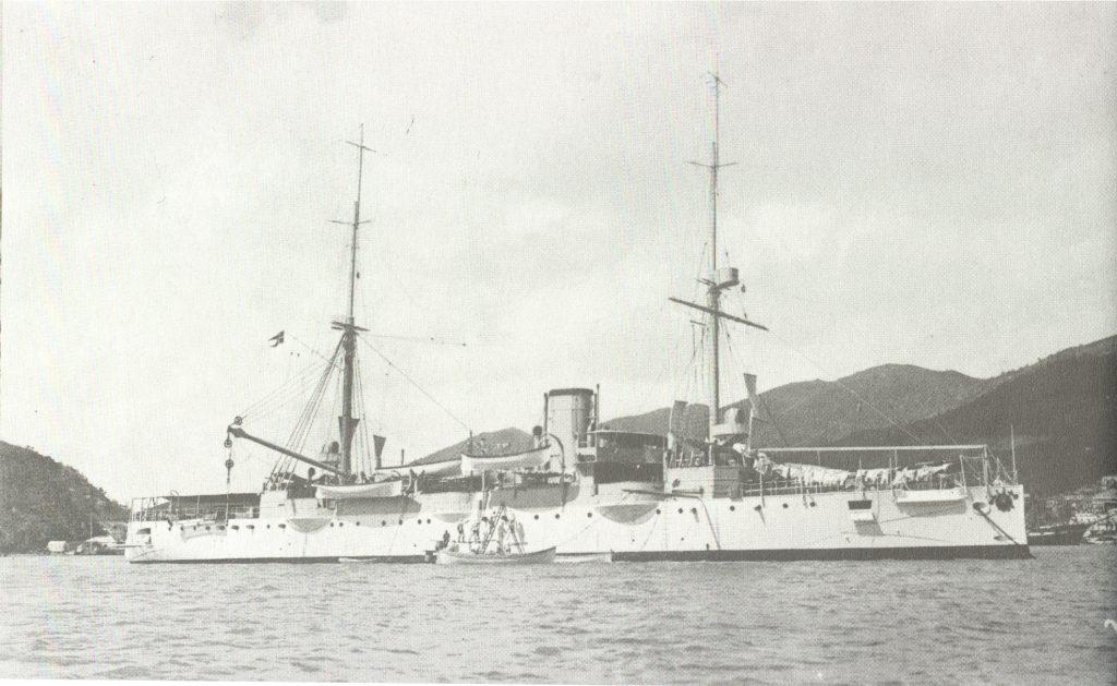 """Den danske krydser """"Valkyrien"""" i St. Thomas havn i 1917."""