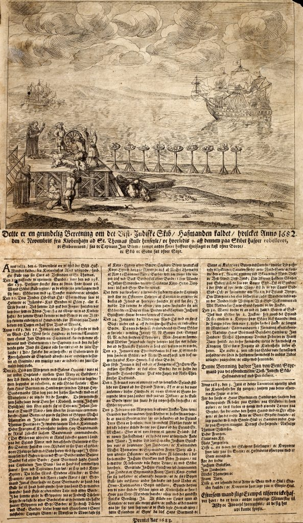 "Contemporary broadsheet telling the story of the dramatic voyage of ""Havmanden""."