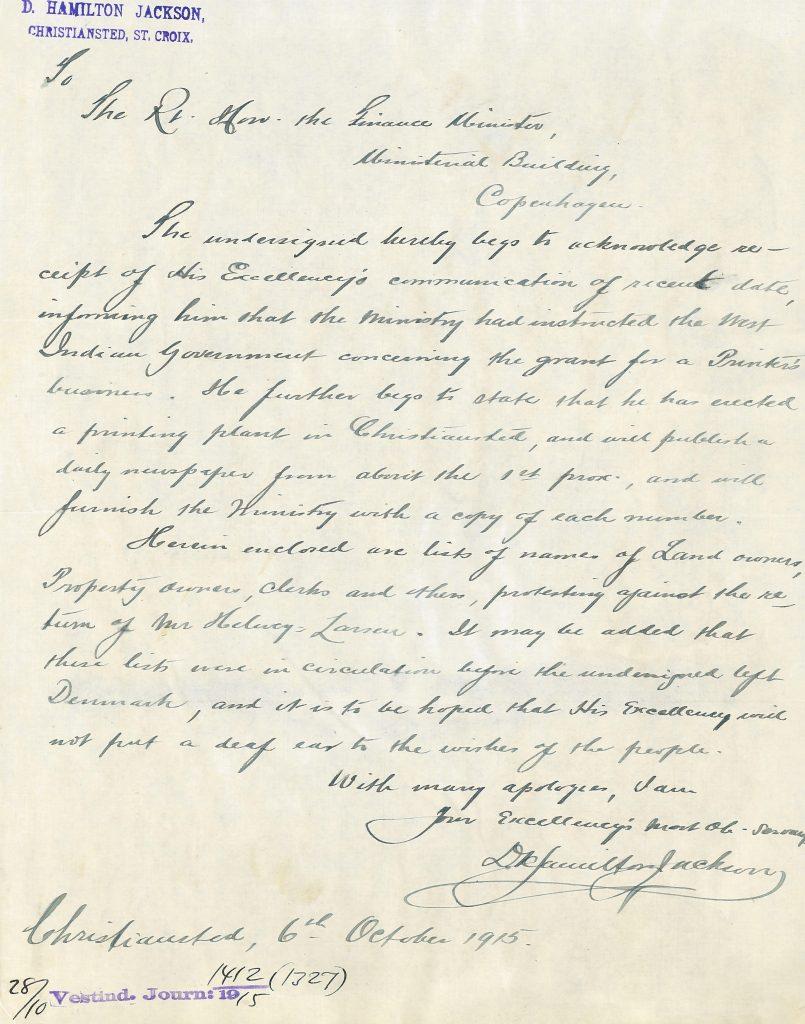 Eksempel på brev fra David Hamilton Jackson, sendt 6. oktober 1916 til finansminister Edvard Brandes. (Rigsarkivet).