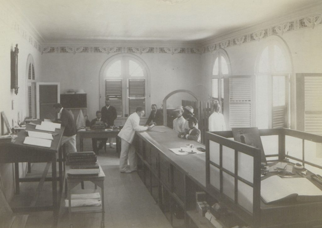 Picture of the ustomer service section of the Danish-West Indian National Bank.