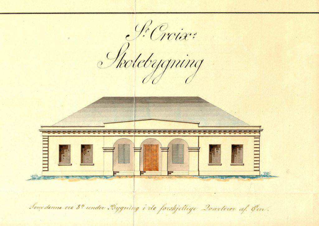 Tegning af slaveskole.