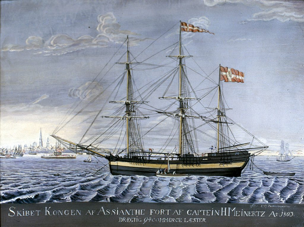 "The bark ""Kongen af Assianthe"" anchored at Copenhagen in 1803."
