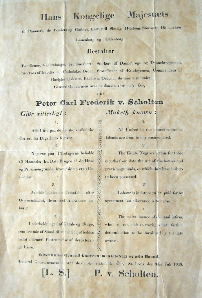 Poster of Peter von Scholten's proclamation of the emancipation of the enslaved laborers.