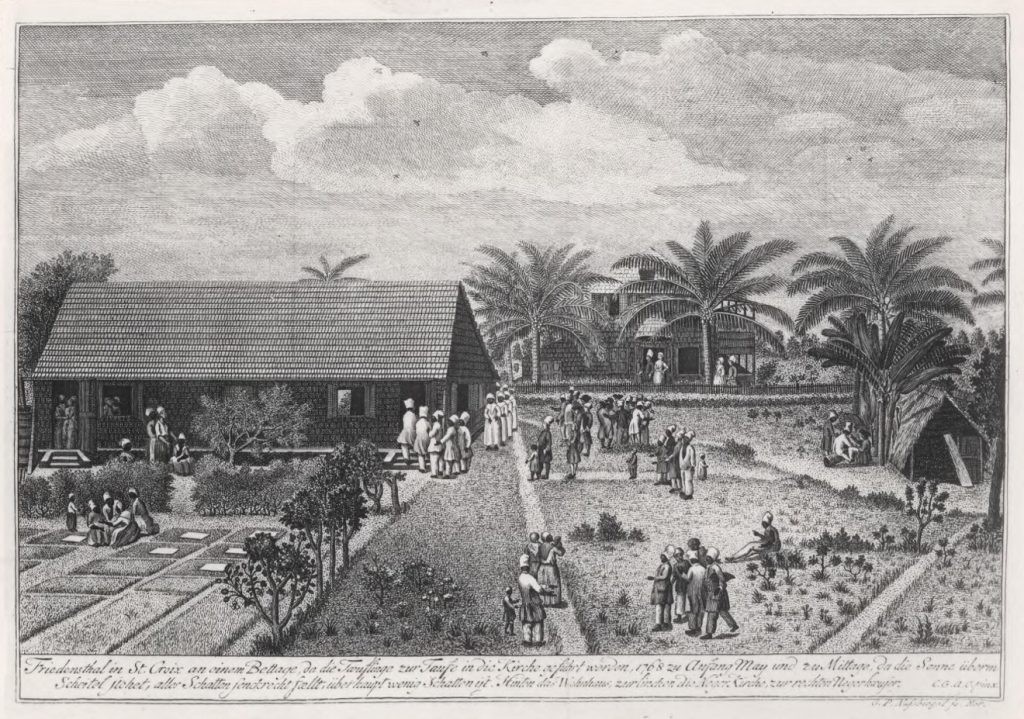 The mission station of the Moravian Brethren in Friedensthal by Christiansted.