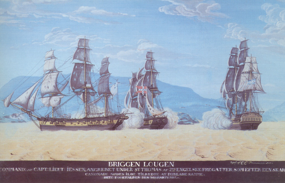 "The Danish brig ""Lougen"" and two British frigates at Fugleklippen (Bird's Key) off St. Thomas."