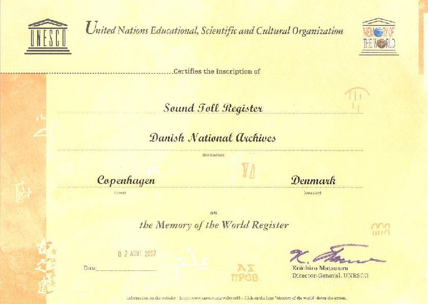 Diplom, udstedt af UNESCO's generaldirektør.