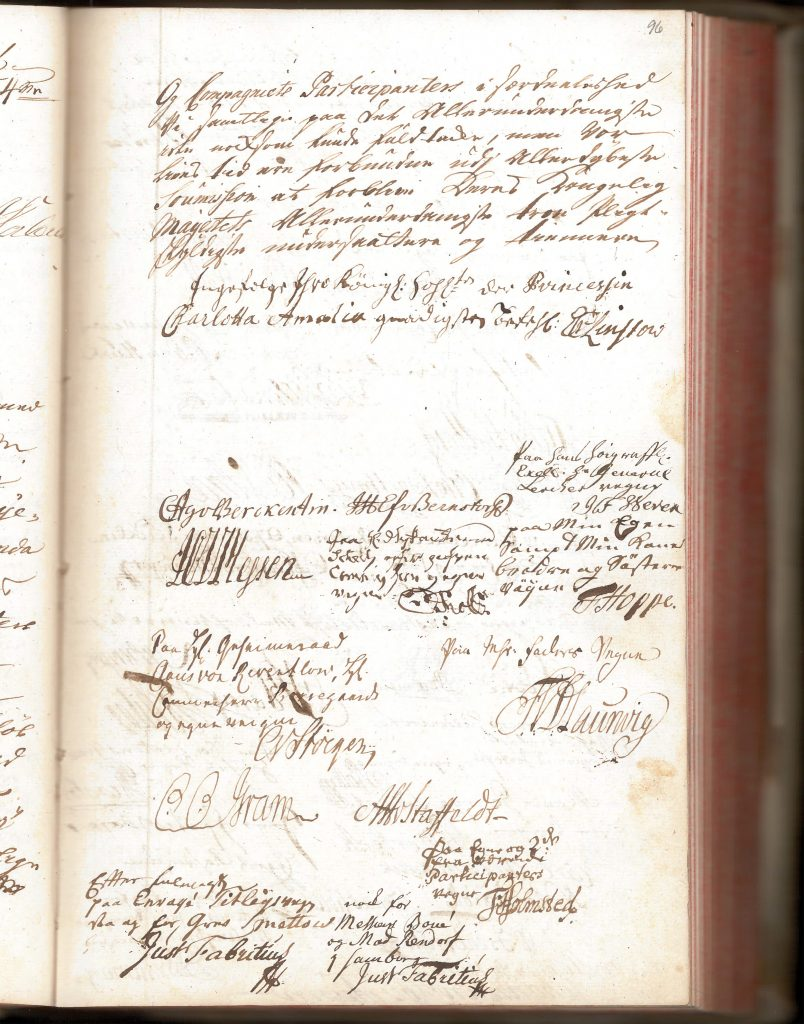 Picture of the the general meeting minutes from 1754.