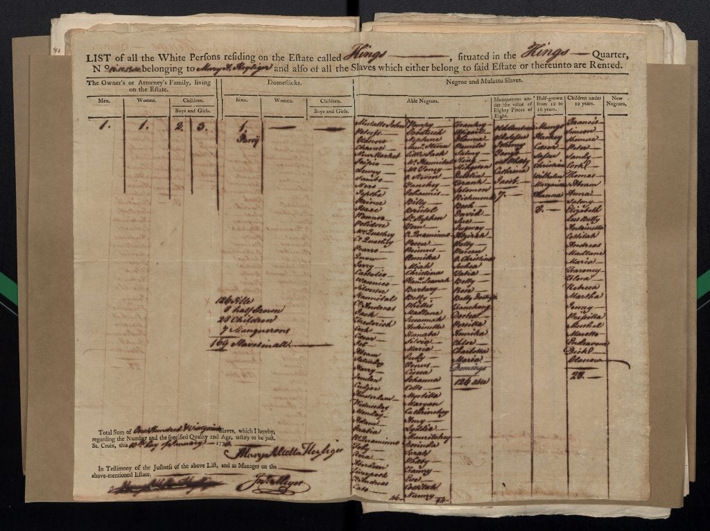 Pre-printed land and head tax information form from 1772.