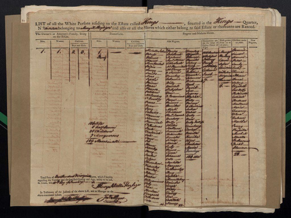 Matrikeloplysningsskema fra 1772.