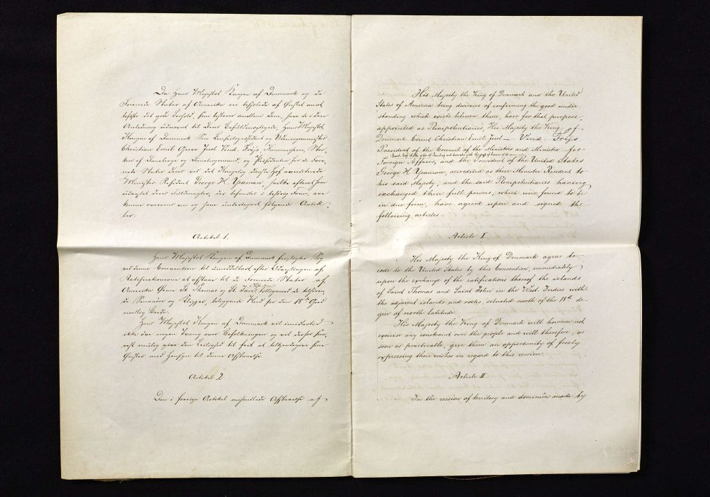 The first page of the sales treaty from 1867.