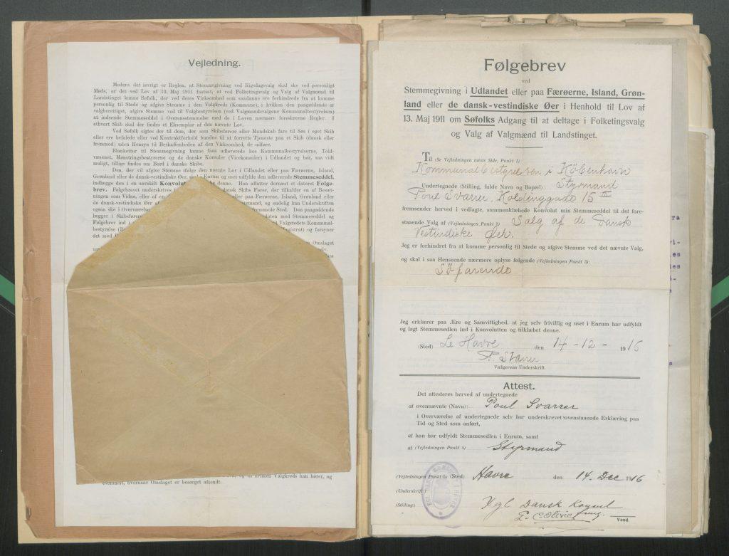 Covering letter for ship's mate Poul Svarrer's ballot.