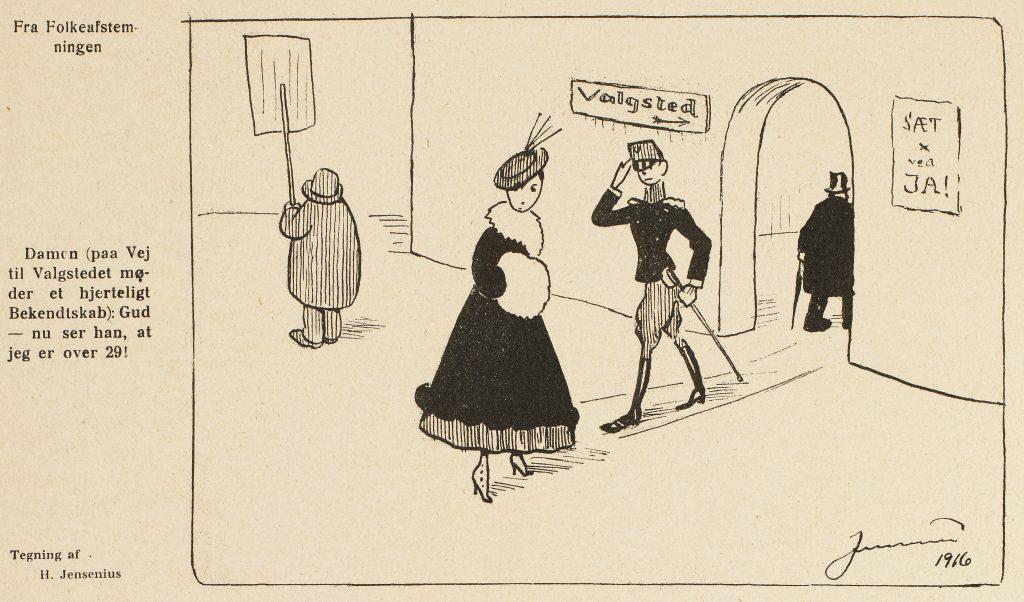 Drawing of H. Jensenius in Klods-Hans 1916.