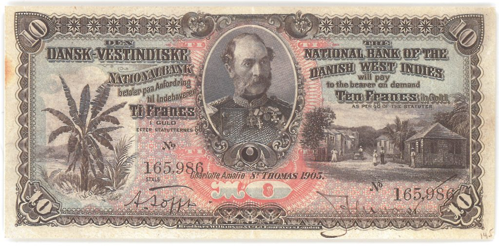 Picture of banknote issued by the Danish-West Indian National Bank in 1905.