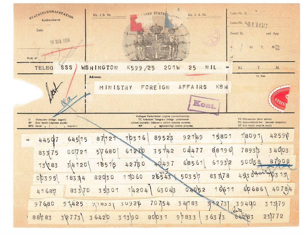 Picture of telegram from Ambassador Brun in Washington.
