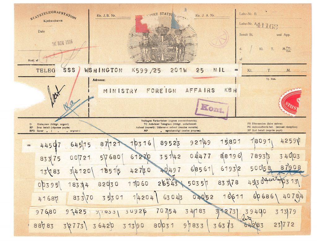 Picture of telegram from Ambassador Brun in Washington.
