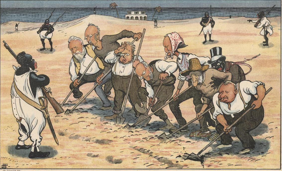 Karikaturtegning af nogle af de landstingsmedlemmer, som havde stemt imod salget.