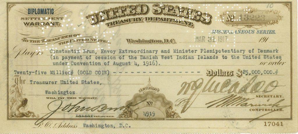 Billede af check fra den amerikanske nationalbank.